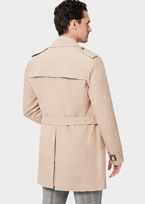 Trench croisé double boutonnage uni beige - Father and Sons 41678