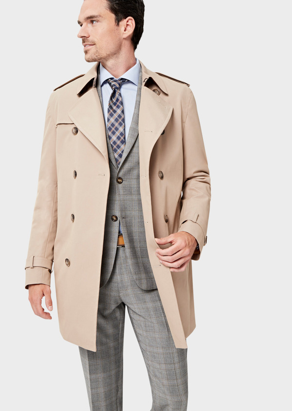 Trench croisé double boutonnage uni beige - Father and Sons 41677