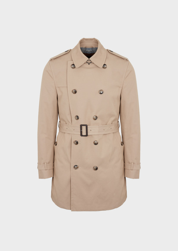 Trench croisé double boutonnage uni beige - Father and Sons 41676