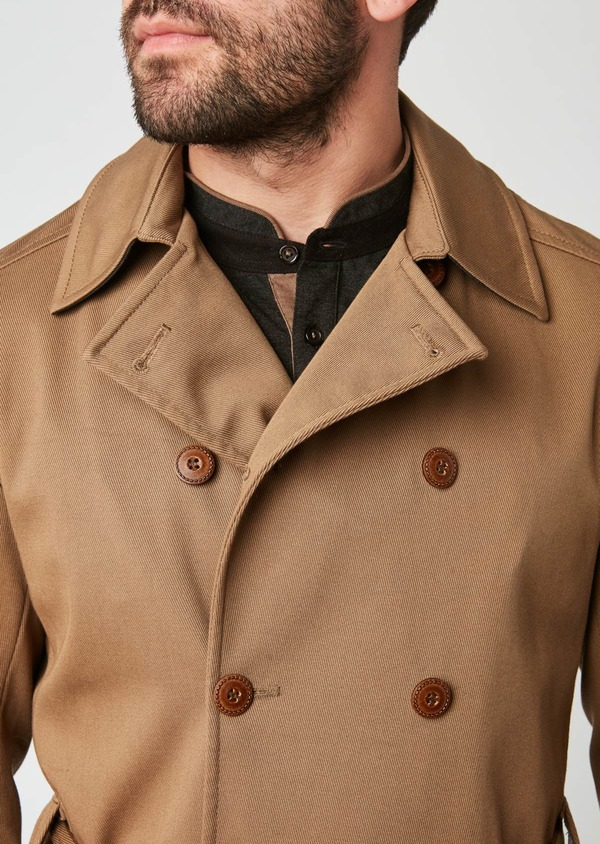 Trench droit double boutonnage uni camel - Father and Sons 27791