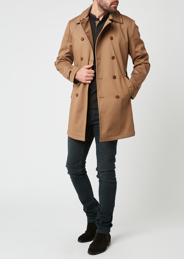 Trench droit double boutonnage uni camel - Father and Sons 27789