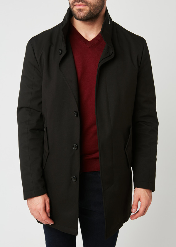Trench droit uni noir - Father and Sons 27764