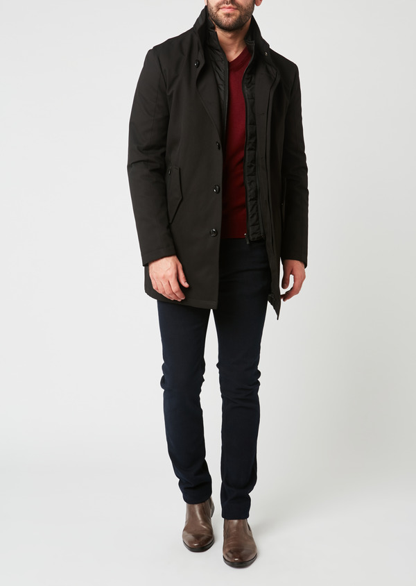 Trench droit uni noir - Father and Sons 27760