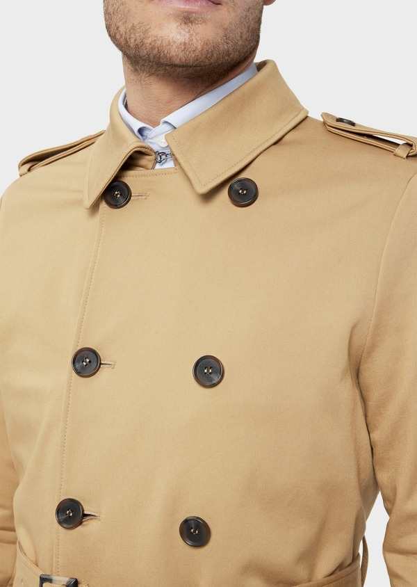 Trench droit double boutonnage uni camel - Father and Sons 36339