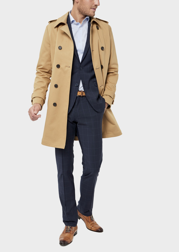 Trench droit double boutonnage uni camel - Father and Sons 36337