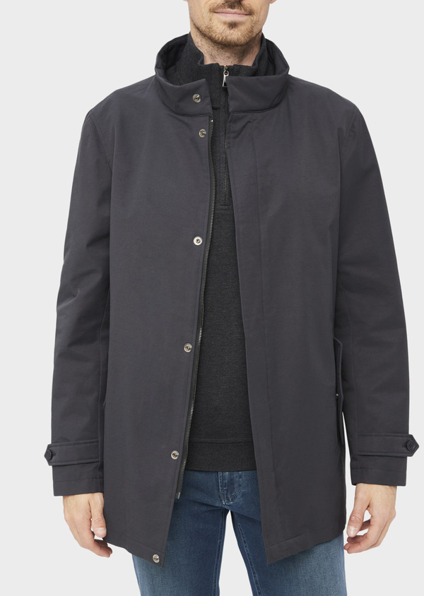 Trench droit 2 en 1 uni gris anthracite - Father and Sons 36945