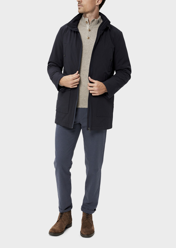 Trench droit 2 en 1 uni bleu marine - Father and Sons 35312
