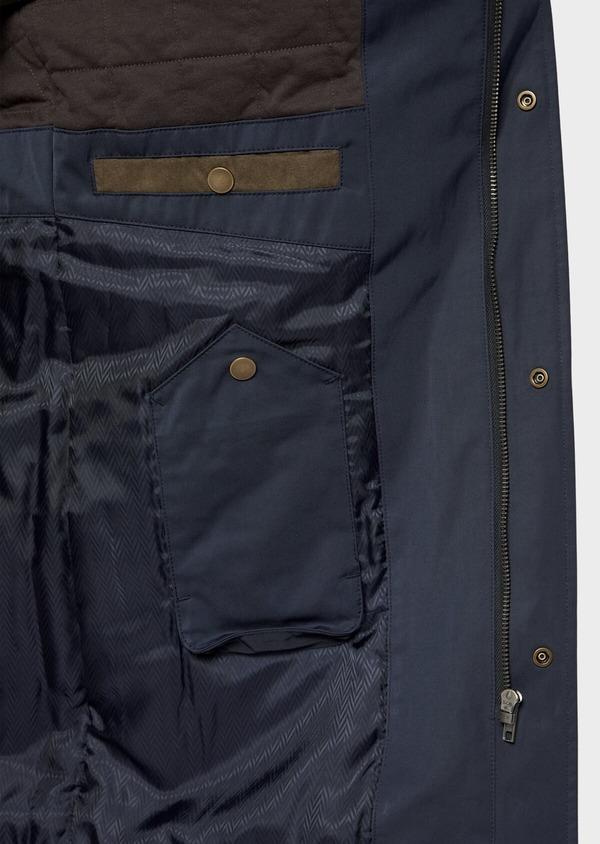 Trench droit à capuche uni bleu marine - Father and Sons 36012