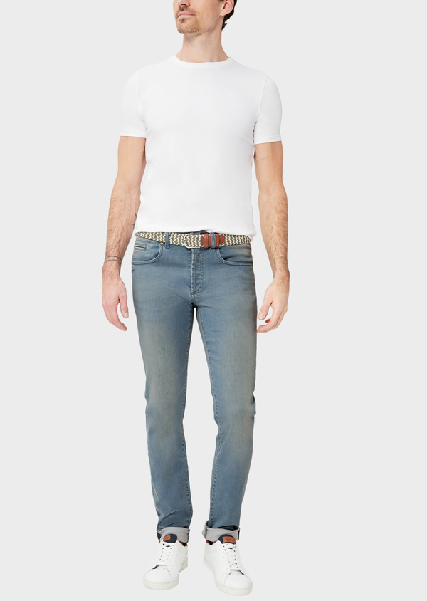 Jean skinny en coton mélangé stretch bleu chambray - Father and Sons 38670