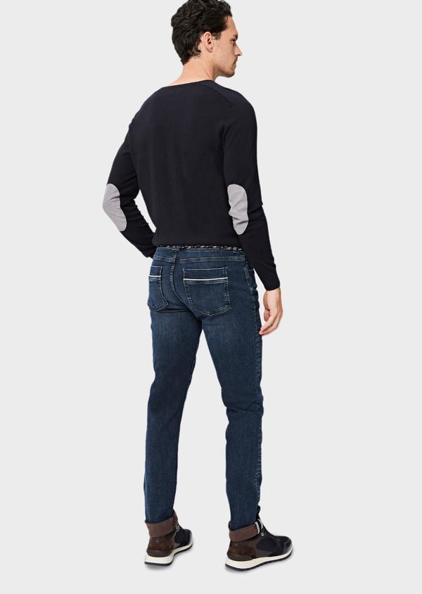 Jean skinny en coton stretch délavé bleu marine - Father and Sons 41301