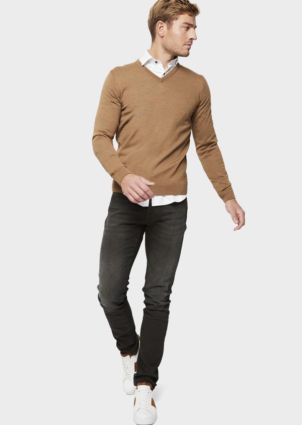Jean skinny en coton stretch marron foncé - Father and Sons 41575