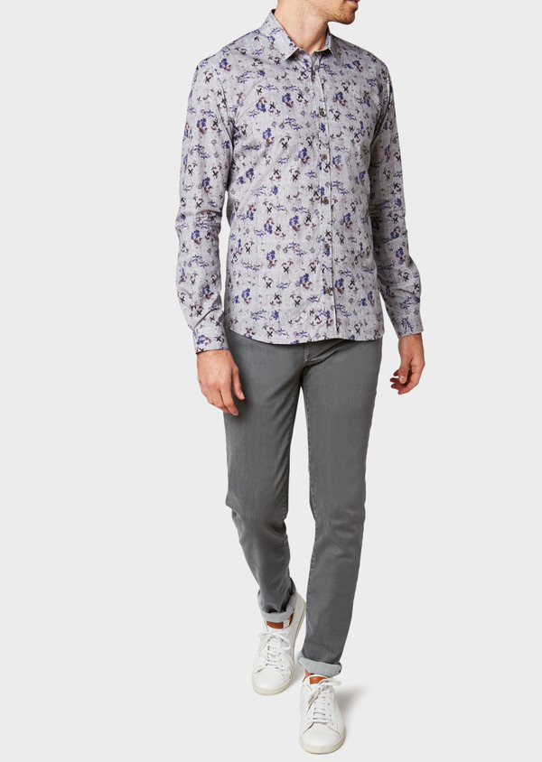 Jean skinny en coton stretch gris clair - Father and Sons 33193