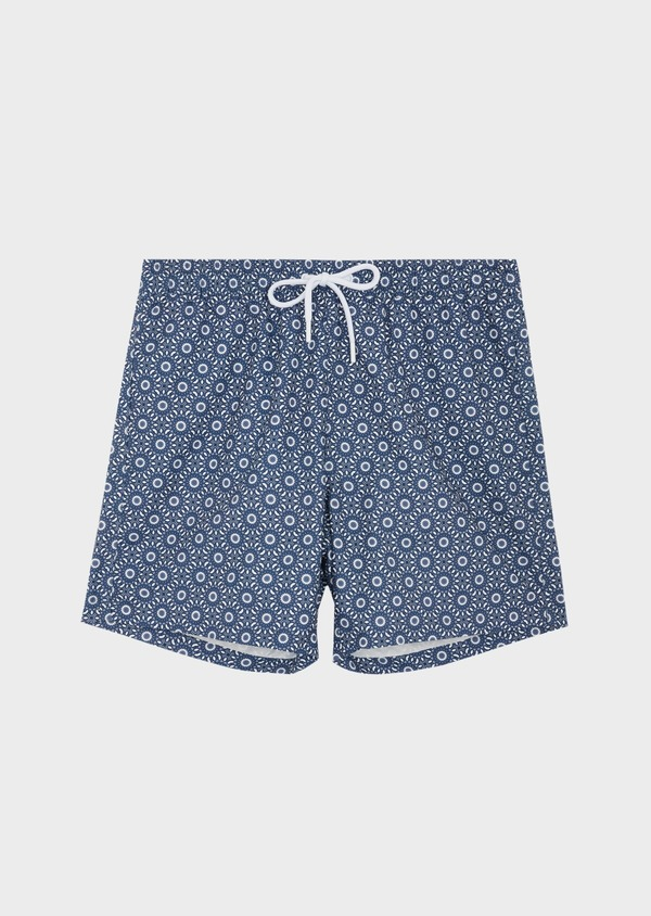 Maillot de bain bleu indigo à motif fantaisie blanc - Father and Sons 40401