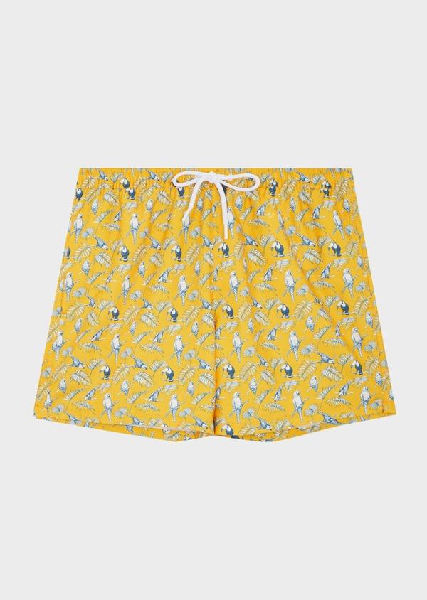 Maillot de bain jaune à motifs perroquets bleu et blanc - Father and Sons 40410