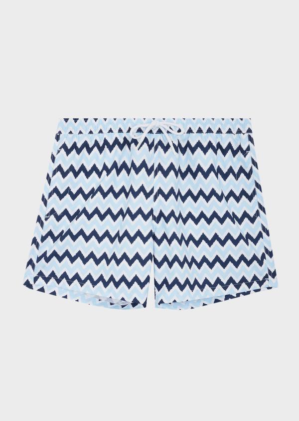 Maillot de bain marine à motifs zig zag bleu ciel - Father and Sons 40407