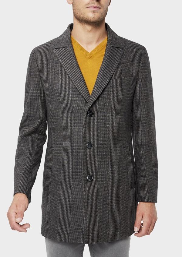 Manteau en laine mélangée gris Prince de Galles avec parementure amovible - Father and Sons 36071