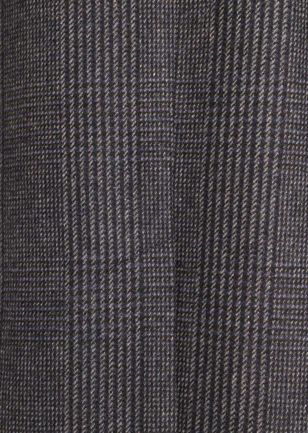 Manteau en laine mélangée gris Prince de Galles avec parementure amovible - Father and Sons 36066