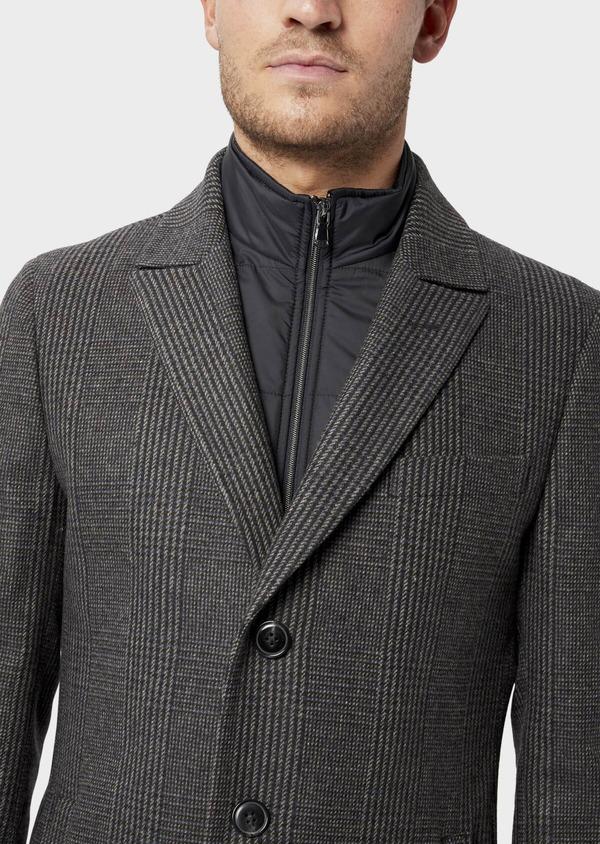 Manteau en laine mélangée gris Prince de Galles avec parementure amovible - Father and Sons 36069