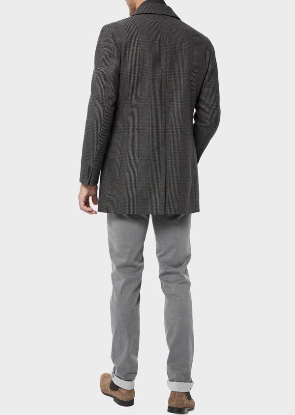 Manteau en laine mélangée gris Prince de Galles avec parementure amovible - Father and Sons 36068