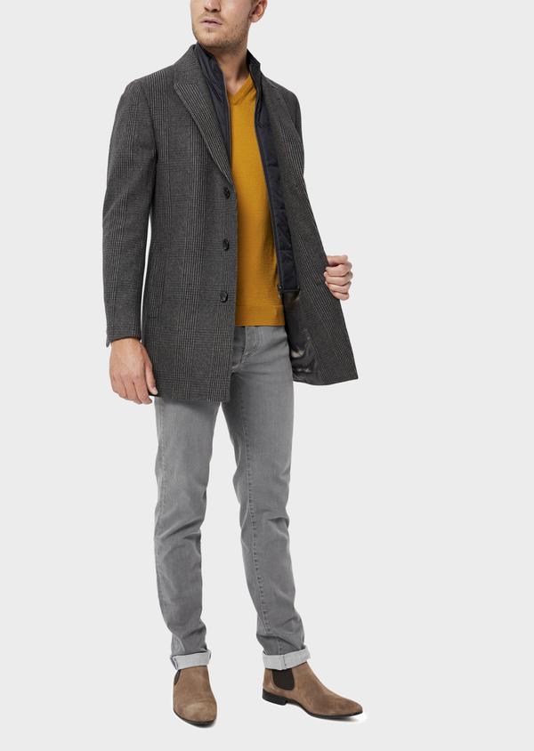 Manteau en laine mélangée gris Prince de Galles avec parementure amovible - Father and Sons 36067