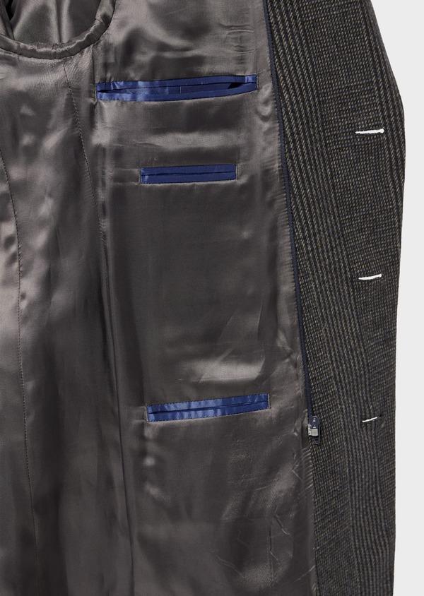 Manteau en laine mélangée gris Prince de Galles avec parementure amovible - Father and Sons 36070