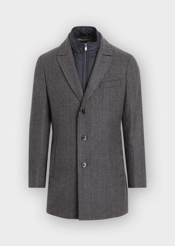Manteau en laine mélangée gris Prince de Galles avec parementure amovible - Father and Sons 36065