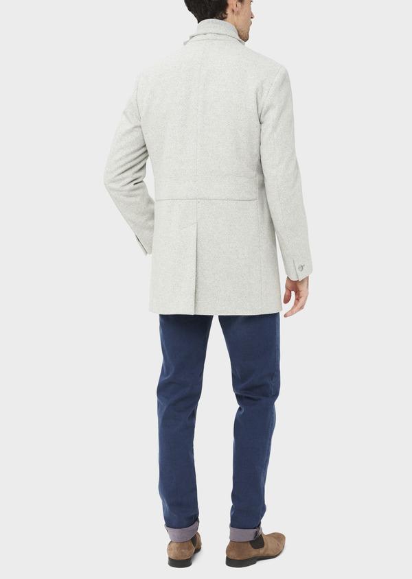 Manteau en laine mélangée grise à motif fantaisie - Father and Sons 36967