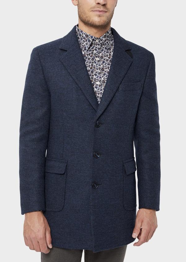 Manteau en laine mélangée bleu indigo à motif fantaisie - Father and Sons 36057