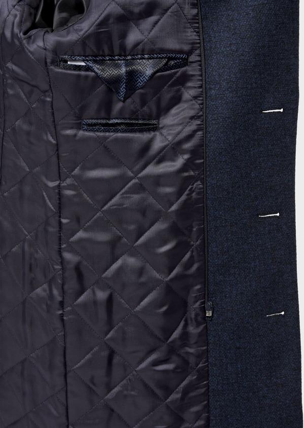 Manteau en laine mélangée bleu indigo à motif fantaisie - Father and Sons 36056