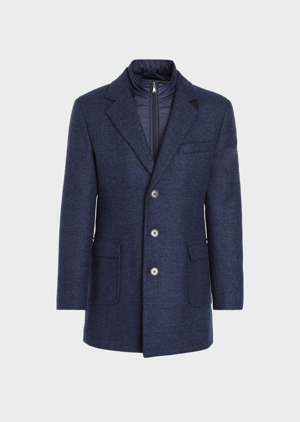 Manteau en laine mélangée bleu indigo à motif fantaisie - Father and Sons 36051