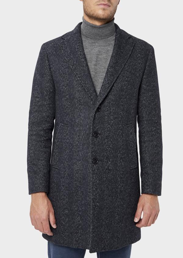 Manteau en laine mélangée bleu indigo à motif chevron et parementure à capuche amovible - Father and Sons 36064
