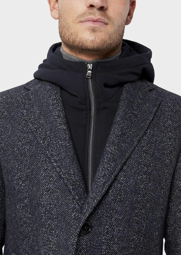 Manteau en laine mélangée bleu indigo à motif chevron et parementure à capuche amovible - Father and Sons 36062
