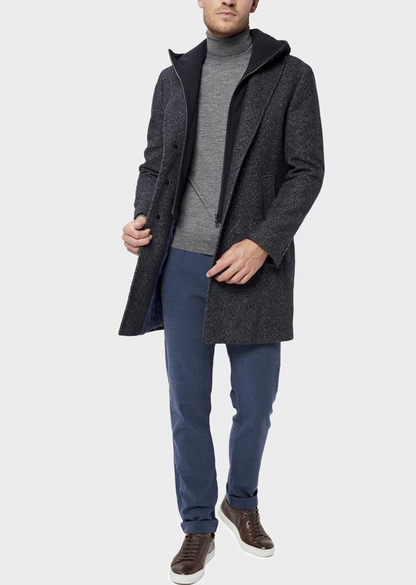 Manteau en laine mélangée bleu indigo à motif chevron et parementure à capuche amovible - Father and Sons 36060