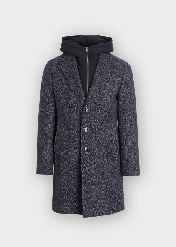 Manteau en laine mélangée bleu indigo à motif chevron et parementure à capuche amovible - Father and Sons 36058