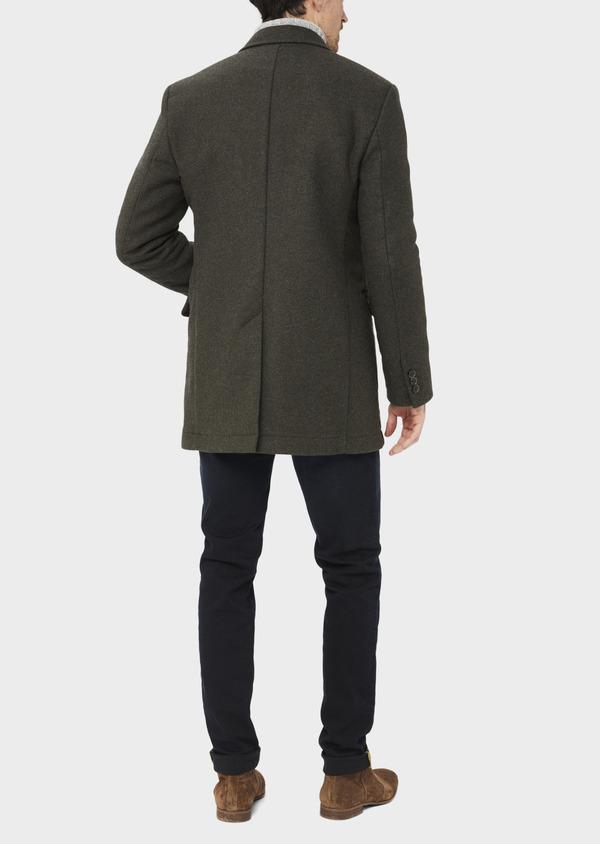Manteau en laine mélangée à motif fantaisie vert kaki - Father and Sons 36751