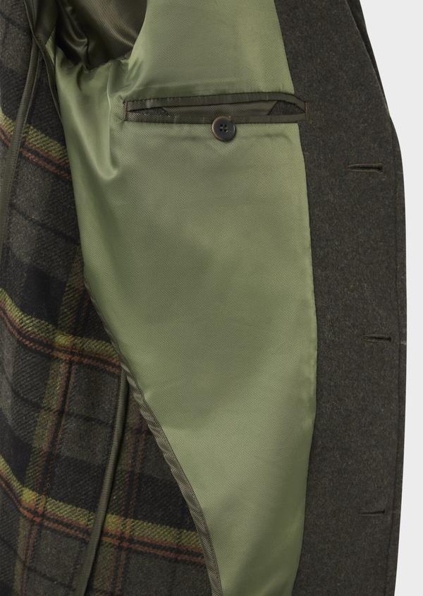 Manteau en laine mélangée à motif fantaisie vert kaki - Father and Sons 36753