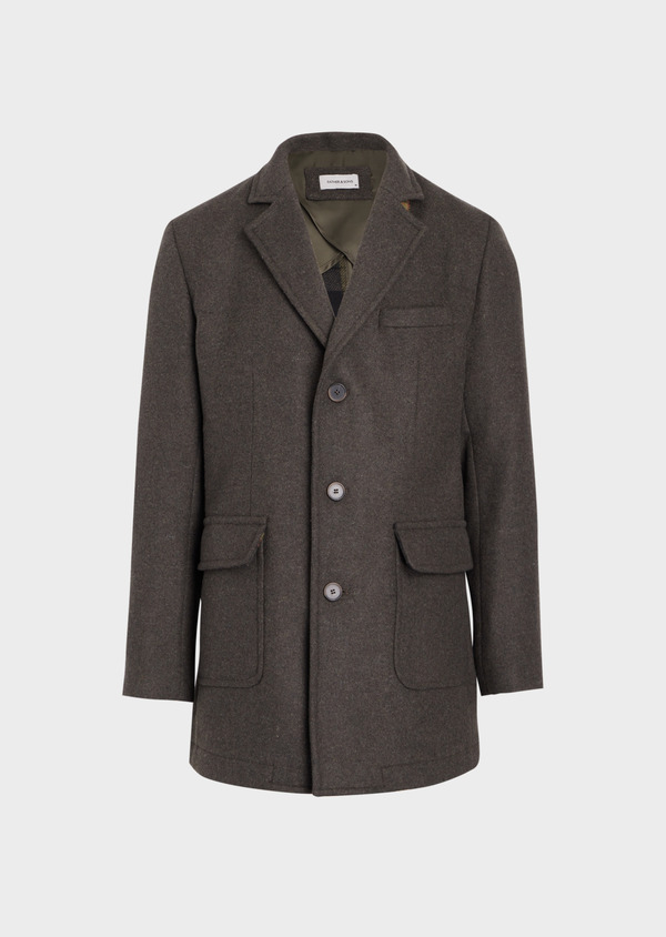 Manteau en laine mélangée à motif fantaisie vert kaki - Father and Sons 36748
