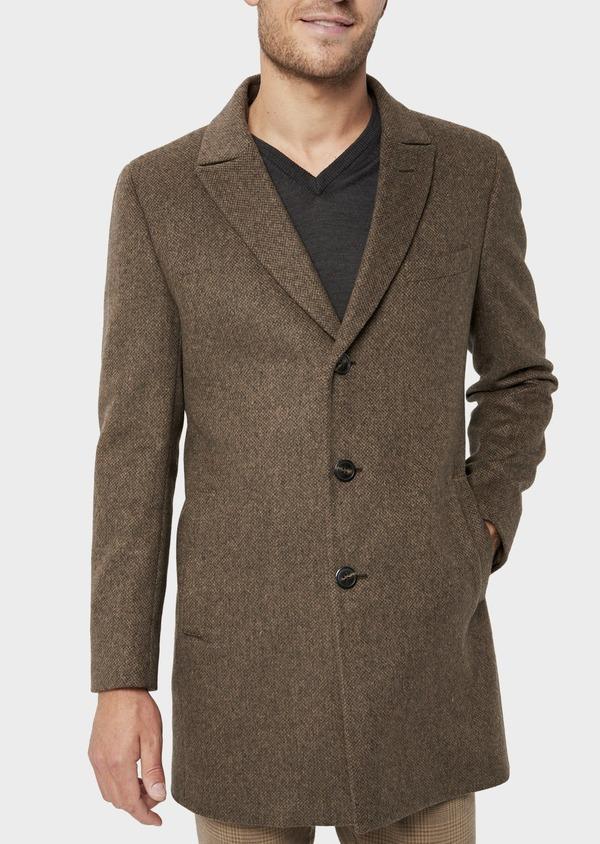 Manteau en laine mélangée marron à motif fantaisie - Father and Sons 36078
