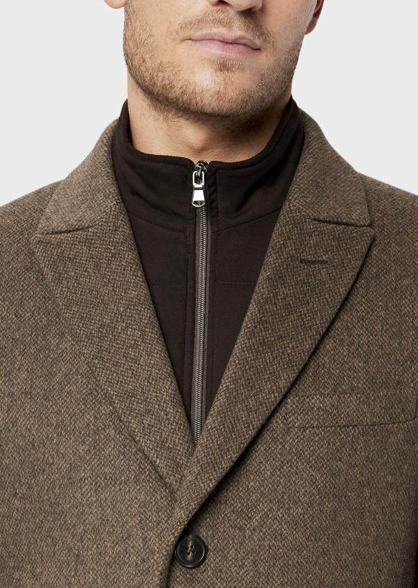Manteau en laine mélangée marron à motif fantaisie - Father and Sons 36076