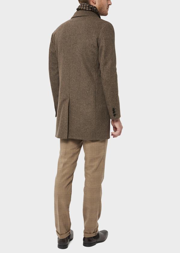 Manteau en laine mélangée marron à motif fantaisie - Father and Sons 36075