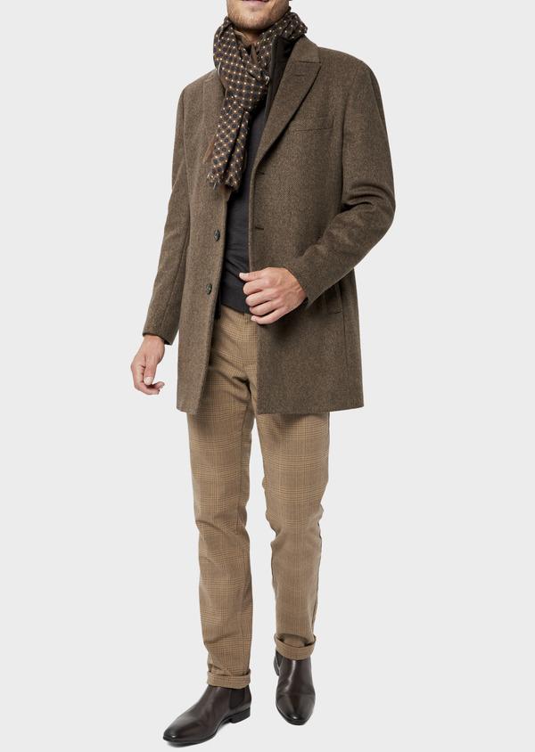Manteau en laine mélangée marron à motif fantaisie - Father and Sons 36074