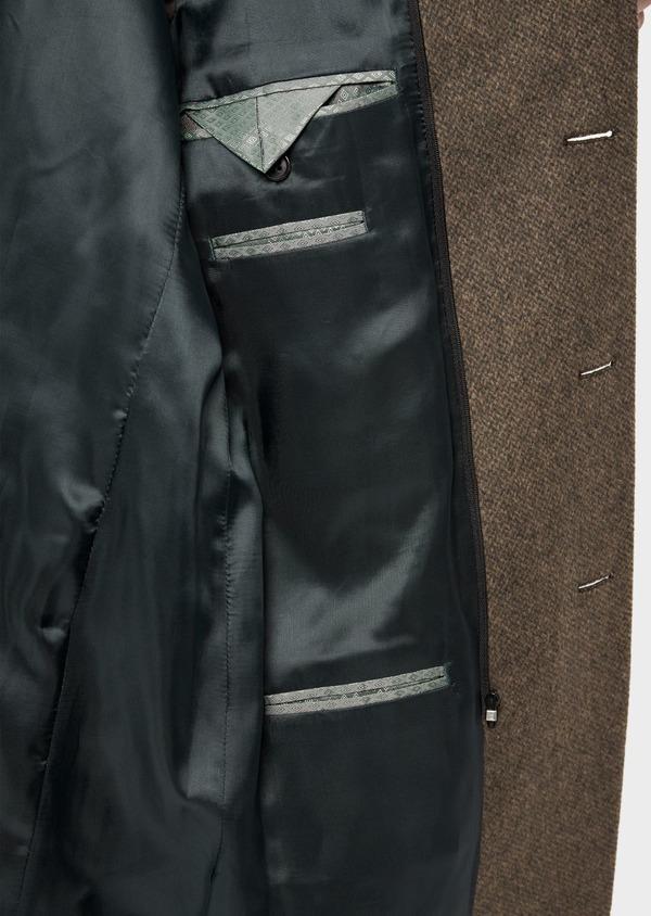 Manteau en laine mélangée marron à motif fantaisie - Father and Sons 36077
