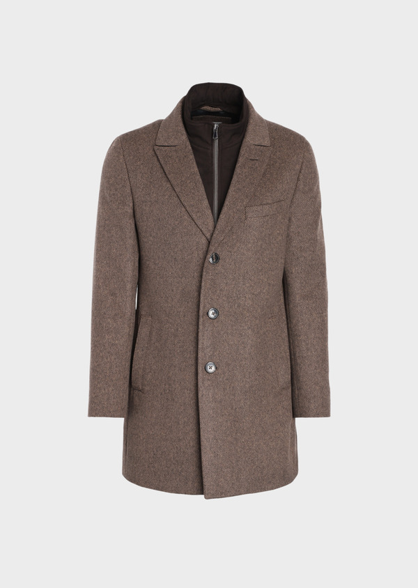 Manteau en laine mélangée marron à motif fantaisie - Father and Sons 36072