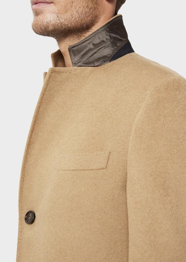 Manteau en laine mélangée unie camel - Father and Sons 36040