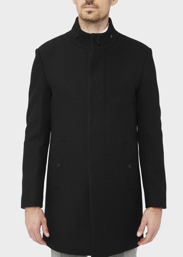 Manteau en laine mélangée unie noire à col amovible - Father and Sons 36766