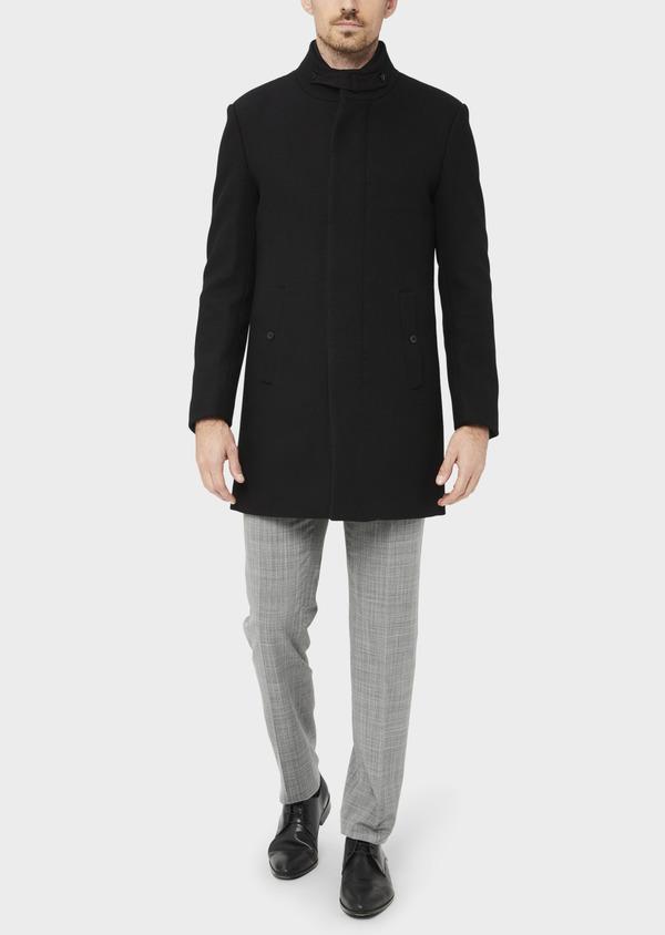 Manteau en laine mélangée unie noire à col amovible - Father and Sons 36762