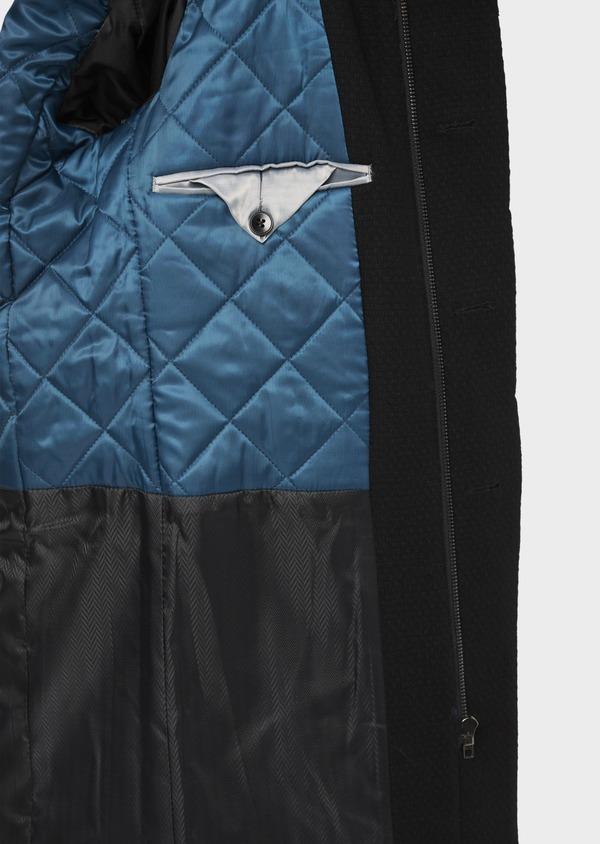 Manteau en laine mélangée unie noire à col amovible - Father and Sons 36765