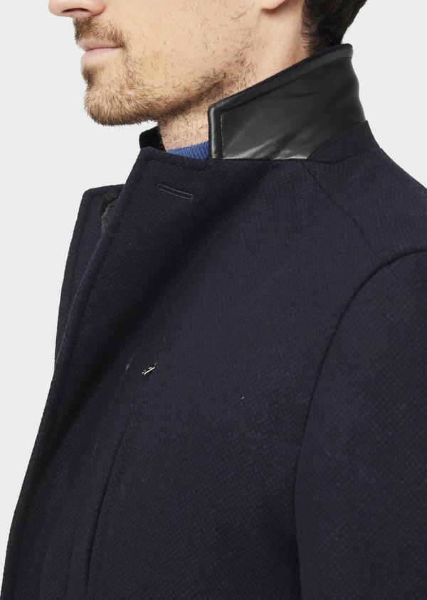 Manteau en laine mélangée à motif fantaisie bleu et doudoune amovible - Father and Sons 36733