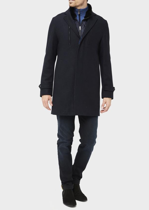 Manteau en laine mélangée à motif fantaisie bleu et doudoune amovible - Father and Sons 36731