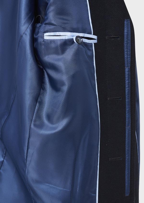 Manteau en laine mélangée à motif fantaisie bleu et doudoune amovible - Father and Sons 36734